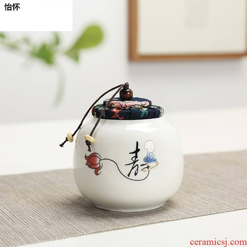 Caddy fixings creative move fashion Caddy fixings ceramic seal pot small portable storage tank receives the tea bag