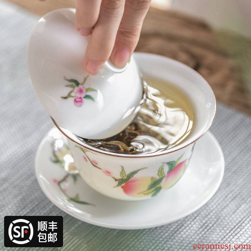 Hand three to escape this hall jingdezhen tureen checking out sweet white porcelain ceramic tea cups hot famille rose tea set