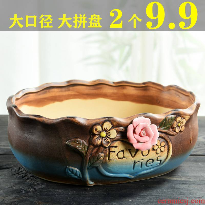 Large ceramic big flowerpot contracted Large caliber thick fleshy flowerpot pottery flowerpot clearance meaty plant platter combination