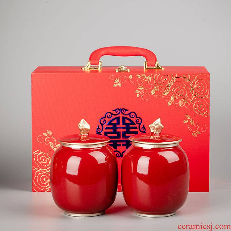 I swim wedding wedding red sugar pot jujube tea can seal as cans ceramic household dowry gifts custom