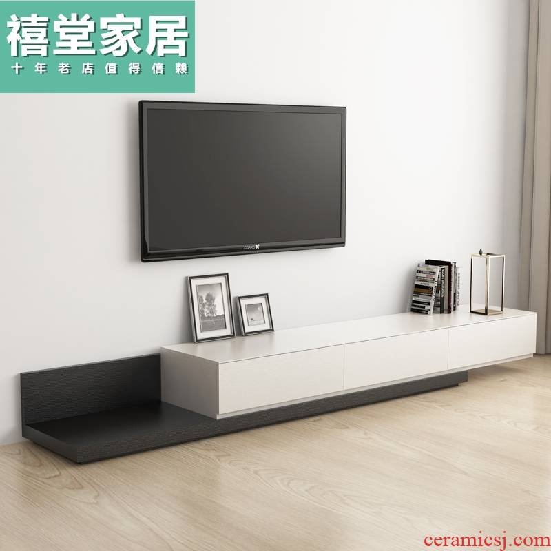 The Nordic combination black walnut color TV ark of tea table scalable TV cabinet I and contracted small family ground ark