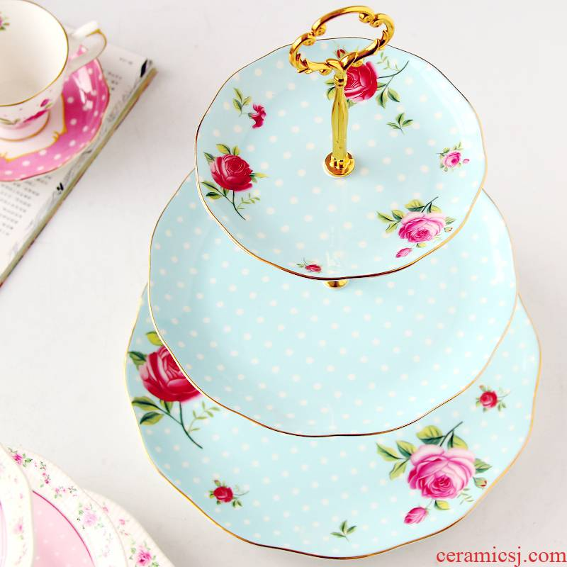 European snack plate three layer ceramic creative snacks English afternoon tea dried fruit compote cake plate