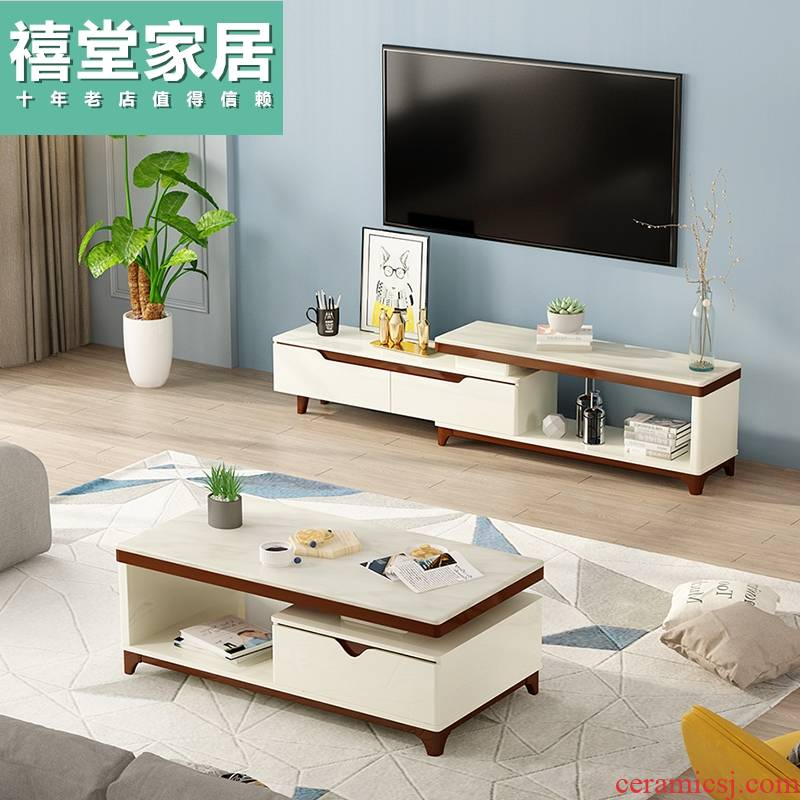 I and contracted marble table, TV ark combination northern wind small family sitting room suit TV ark cabinet
