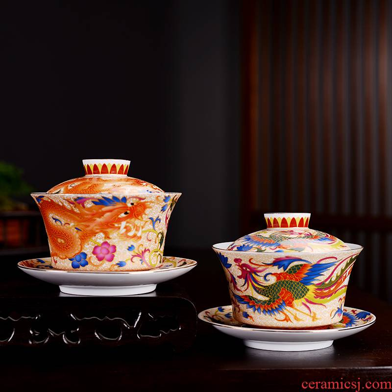 Into this monkey grilled ceramic flower tureen hand - made kung fu tea powder enamel only three tureen tea bowl three cups