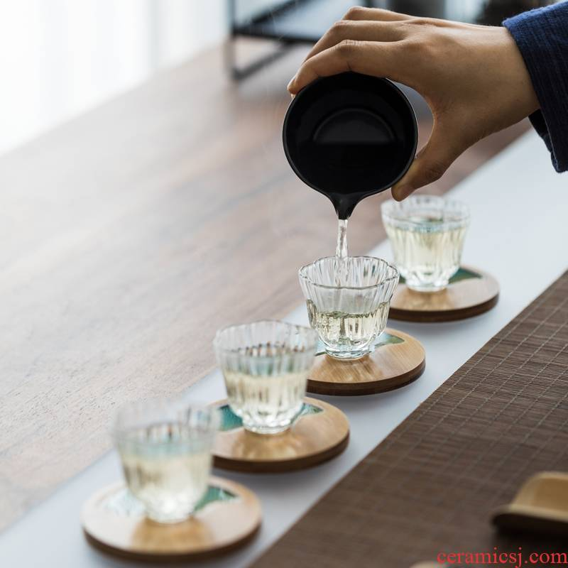 Vegetation school Japanese heat - resistant glass tea cup sample tea cup glass tea cup fragrance - smelling cup bowl kung fu tea set