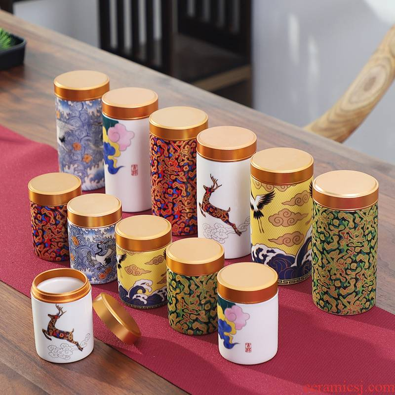 Caddy fixings ceramic portable gift boxes trumpet tea Caddy fixings mini storage sealed as cans household receives with travel