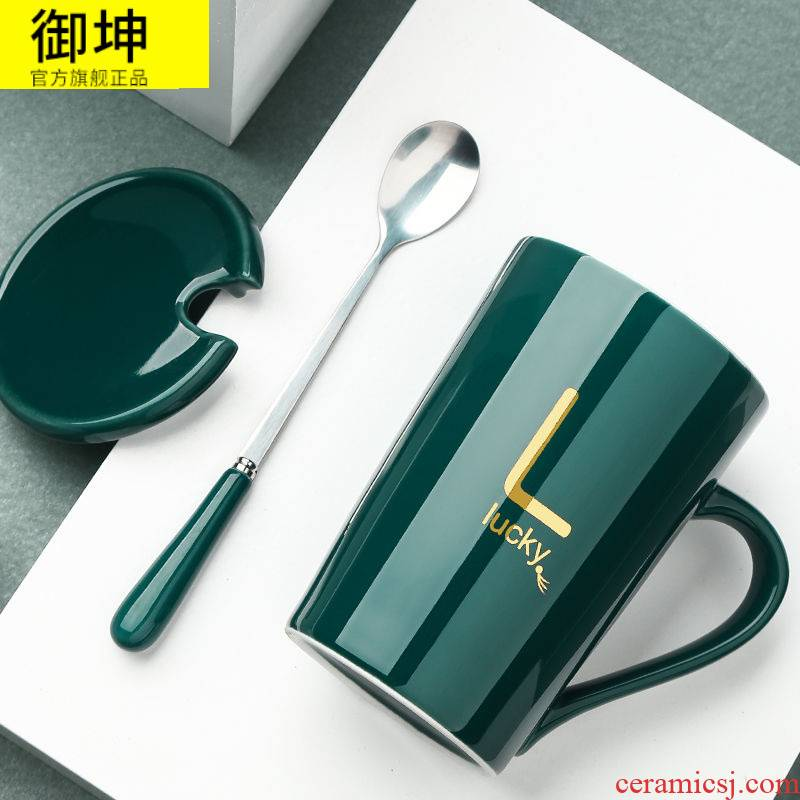 Ceramic cup high - capacity han edition, lovely boys and girls couples mark cup with cover spoon cup coffee cup