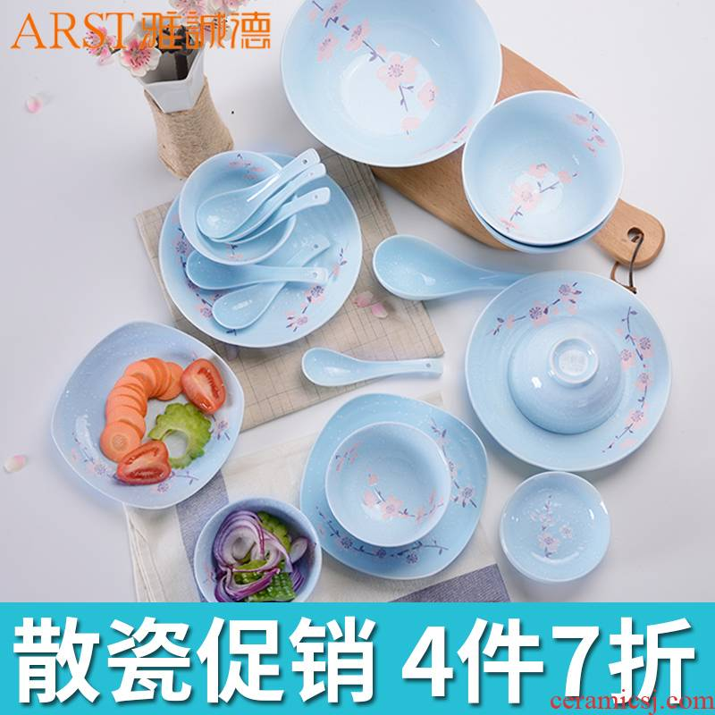Dishes suit household ya cheng DE ceramics tableware contracted Japanese bowl dish bowl chopsticks Dishes