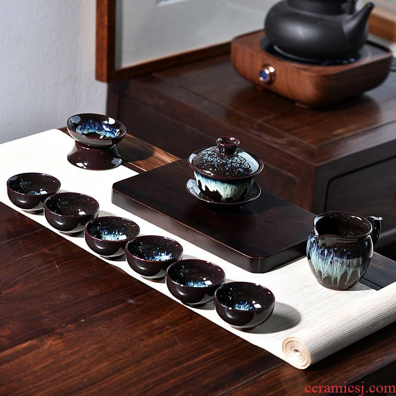 Both up built one variable kung fu tea set ceramic household small set of tea cups contracted sitting room tureen tea art