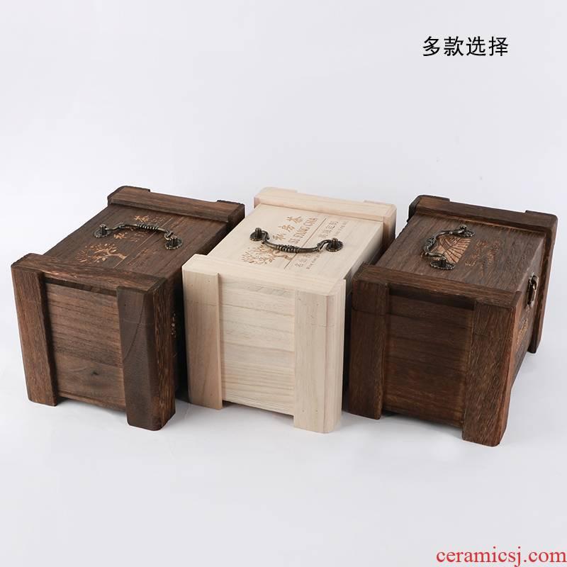 Tea box packing box aneroid wooden box, solid wood Tea loose Tea, black Tea box pu 'er Tea box general packaging