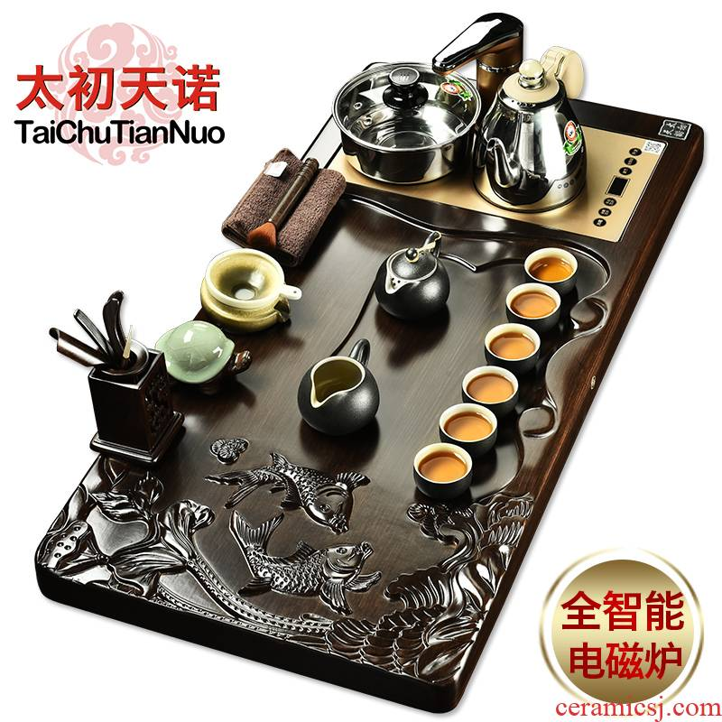 The beginning day, ebony wood annatto tea tray automatic water induction cooker kung fu of a complete set of purple sand tea set