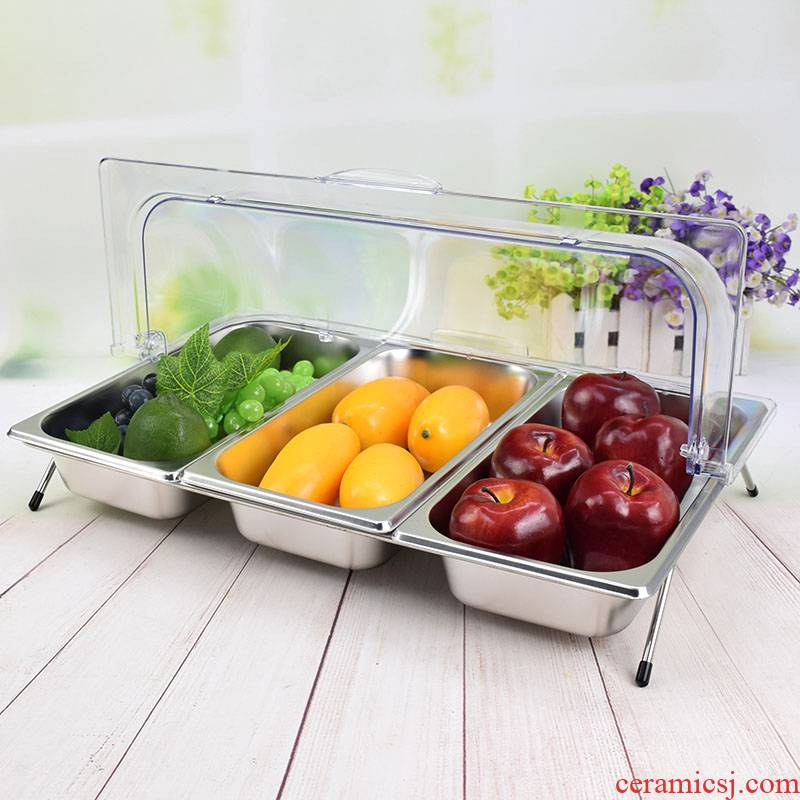 View the best stainless steel tray with cover a rectangle buffet tableware ltd. keeping cold dishes cooked fruit plate