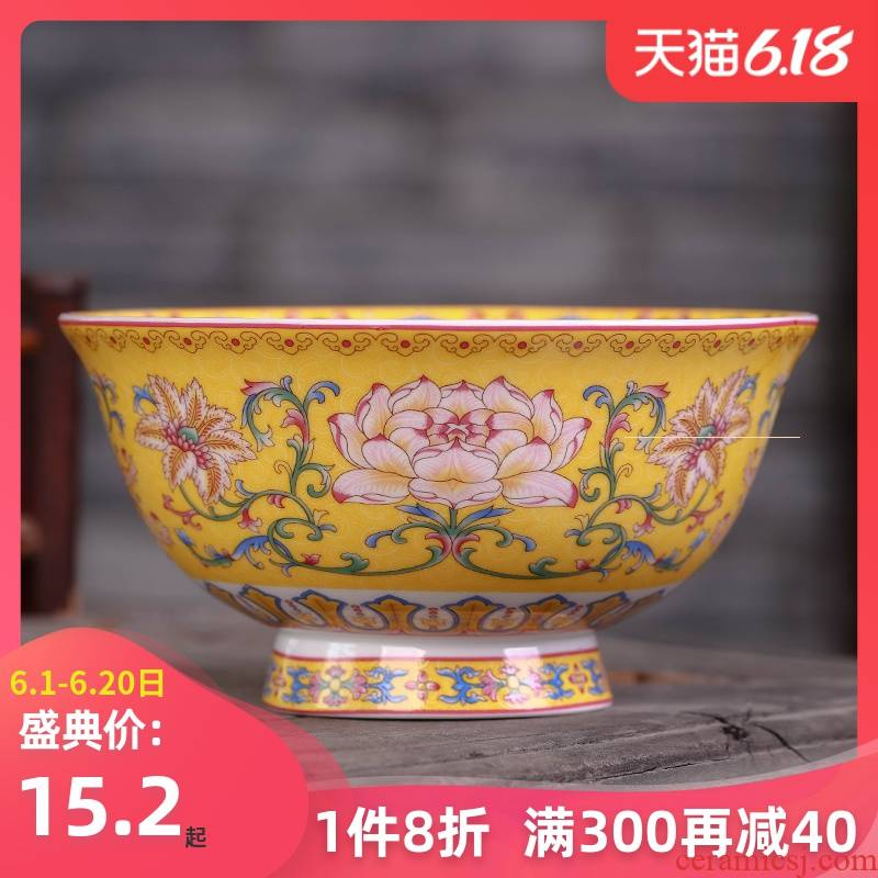 Jingdezhen Chinese dishes suit ceramic bowl chopsticks home plate to eat to use a single large bowl of small bowl bowl of long life