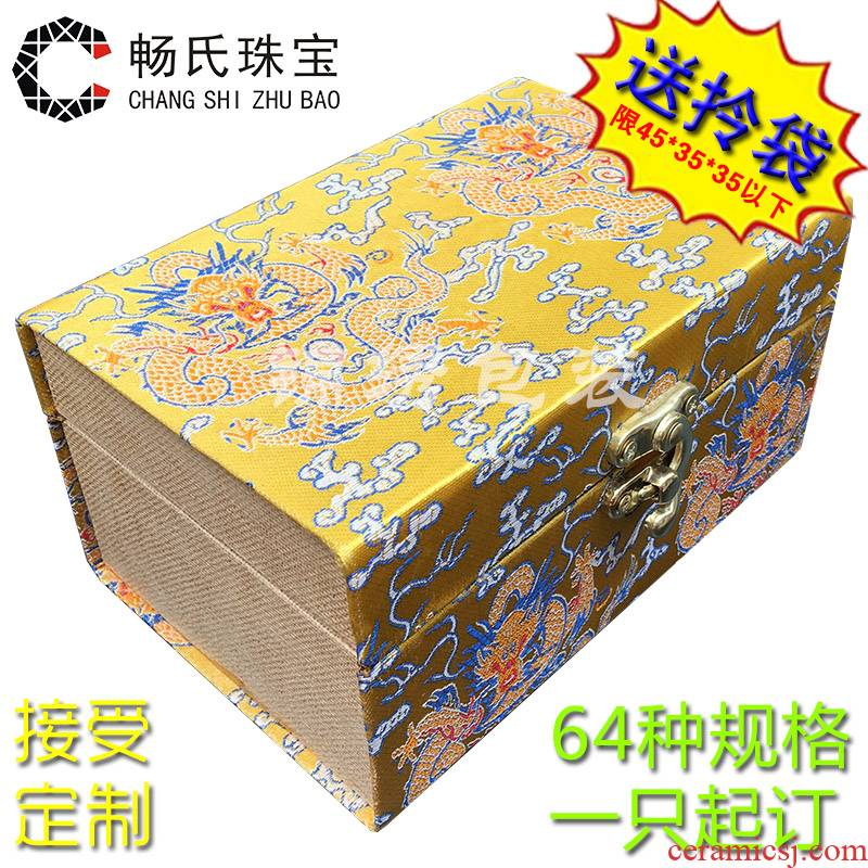Large wooden new JinHe porcelain collection box with new penjing jade gift box jewelry box