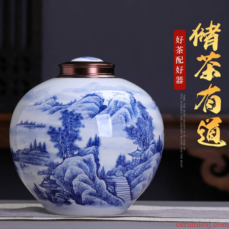 Extra large blue and white porcelain glaze color caddy fixings under seal pot home 3 jins of jingdezhen ceramic red tea storage tanks