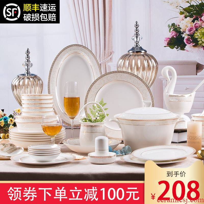Dishes suit household light key-2 luxury European - style jingdezhen ceramic bowl dish chopsticks contracted ipads porcelain tableware set combination