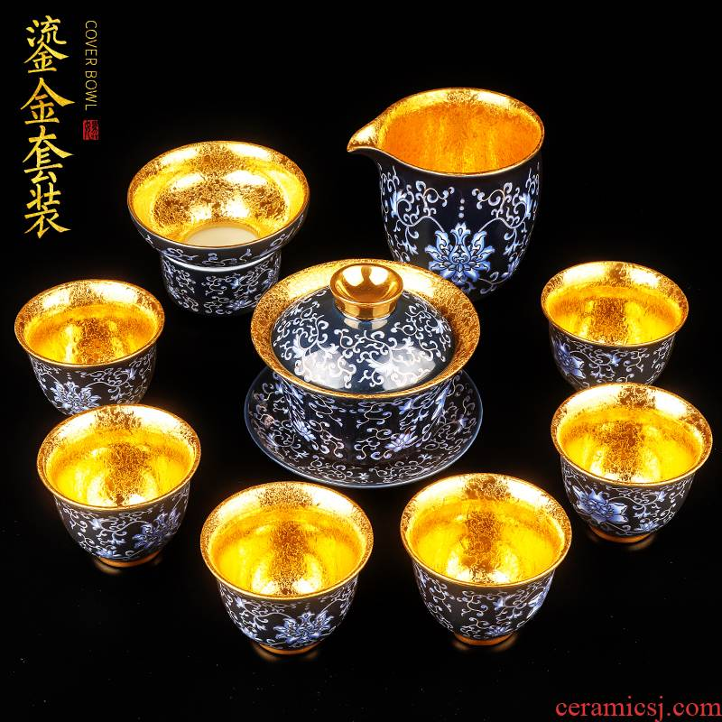 Artisan fairy gold tea set tureen cup pure manual household ceramics kung fu tea set a complete set of high - end gift box