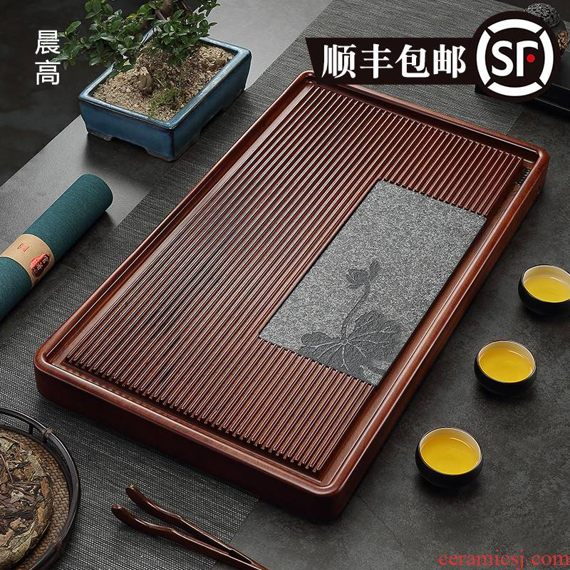 Morning high dried flower pear tea tray bakelite tea tray was contracted sharply stone tea tray of household solid wood tea ship large drainage type
