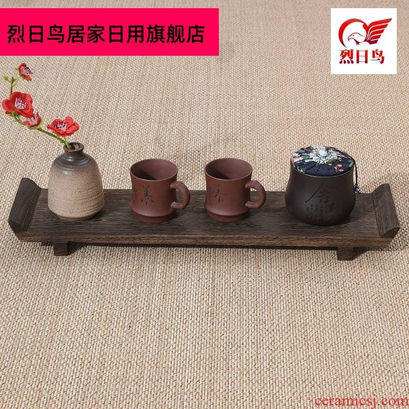 Solid wood tea tray cupholders pot bearing long glass desktop tea set to receive r shows rich ancient frame saucer dish