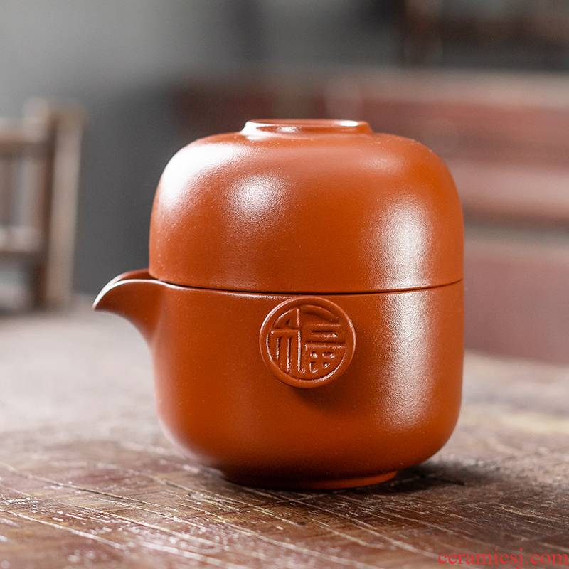 The flute crack of portable red purple sand tea set a pot of one cup is suing travel home kung fu tea set