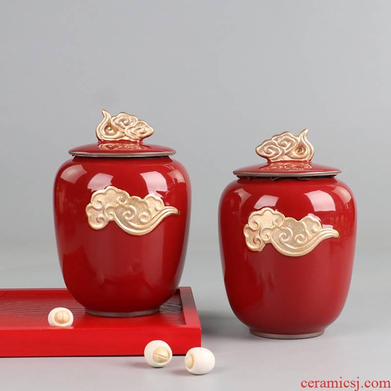I swim wedding supplies wedding caddy fixings ceramic seal pot storage tank Chinese red and joyful private custom
