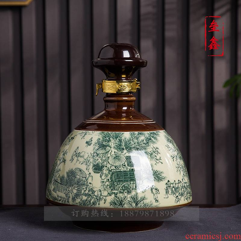 Bottle is empty bottles of jingdezhen ceramic 1/3/5 jin household seal retro hip furnishing articles wine jar