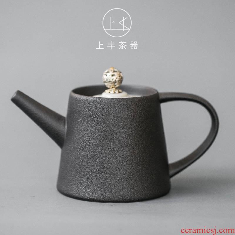 Feng Japanese black pottery tea set on kung fu tea tea machine household filter teapot tea taking simple single pot customization