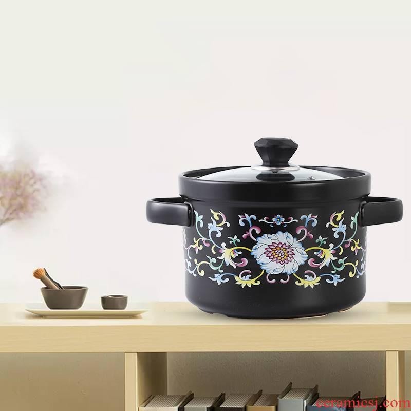 Casseroles, high temperature resistant crock soup pot small ceramic casserole pot soup pot stew flame household gas soup rice soup
