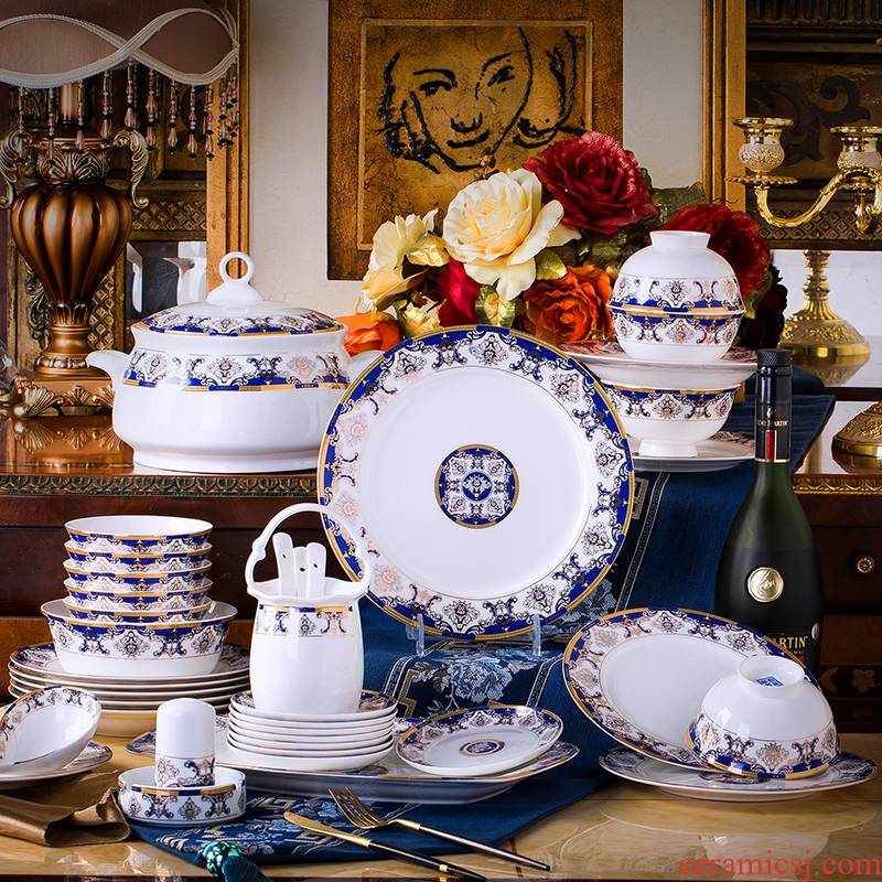 Jingdezhen ceramic tableware suit 60 heads of household of Chinese style dishes suit ceramics group contracted dishes chopsticks