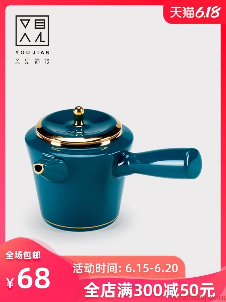 The teapot tea pot of dehua ceramic Japanese household small single side pot of single wind kung fu tea palace with one person
