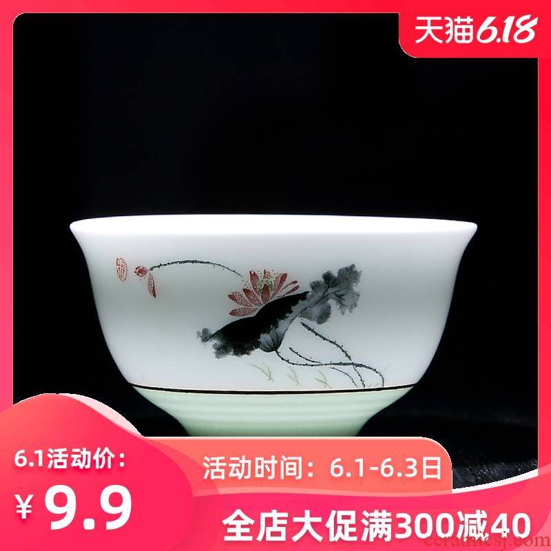 Household utensils small kung fu suit ceramic cups white porcelain sample tea cup 10 only a single cup a cup bowl with porcelain