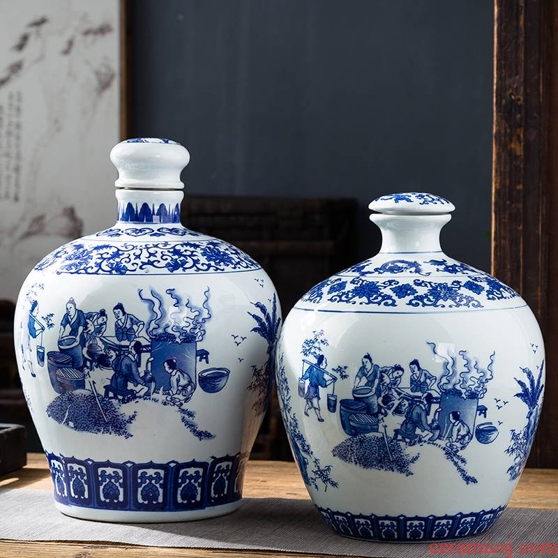 Jingdezhen blue and white porcelain jars ceramic terms bottle 10 jins to an empty bottle seal storage hidden hip flask jugs