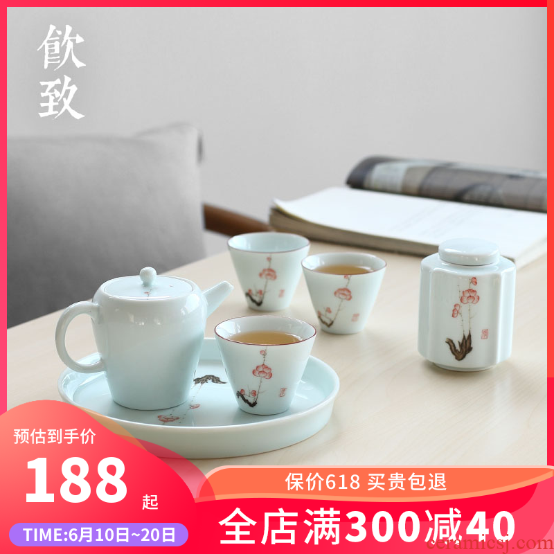 Ultimately responds to jingdezhen household hand - made ceramic tea set contracted tea tray caddy fixings sets of mini group travel tea set