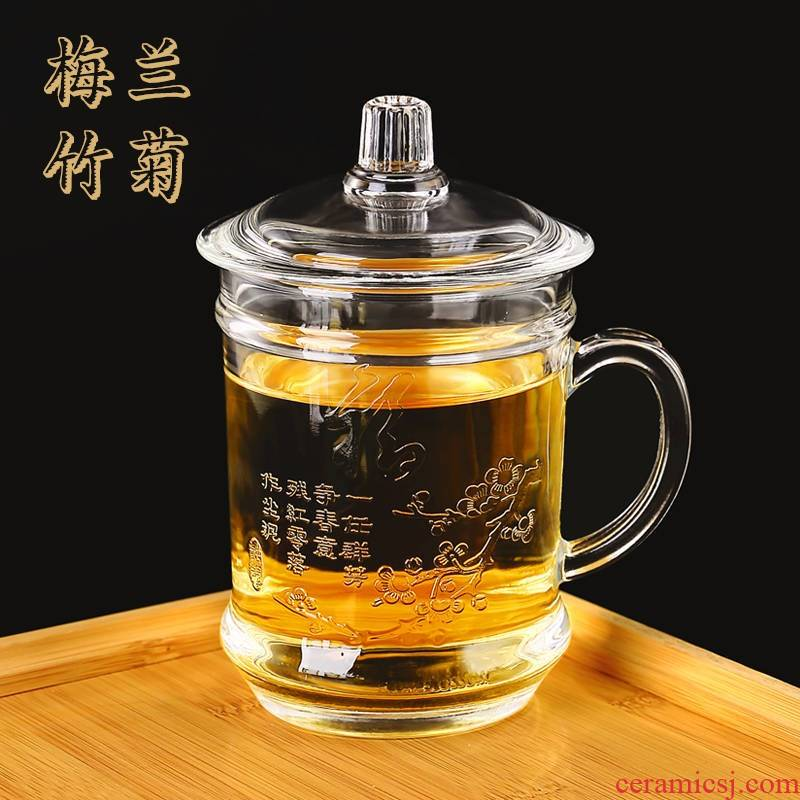 More household heat by patterns carved glass office tea cups of large capacity with cover take cup water