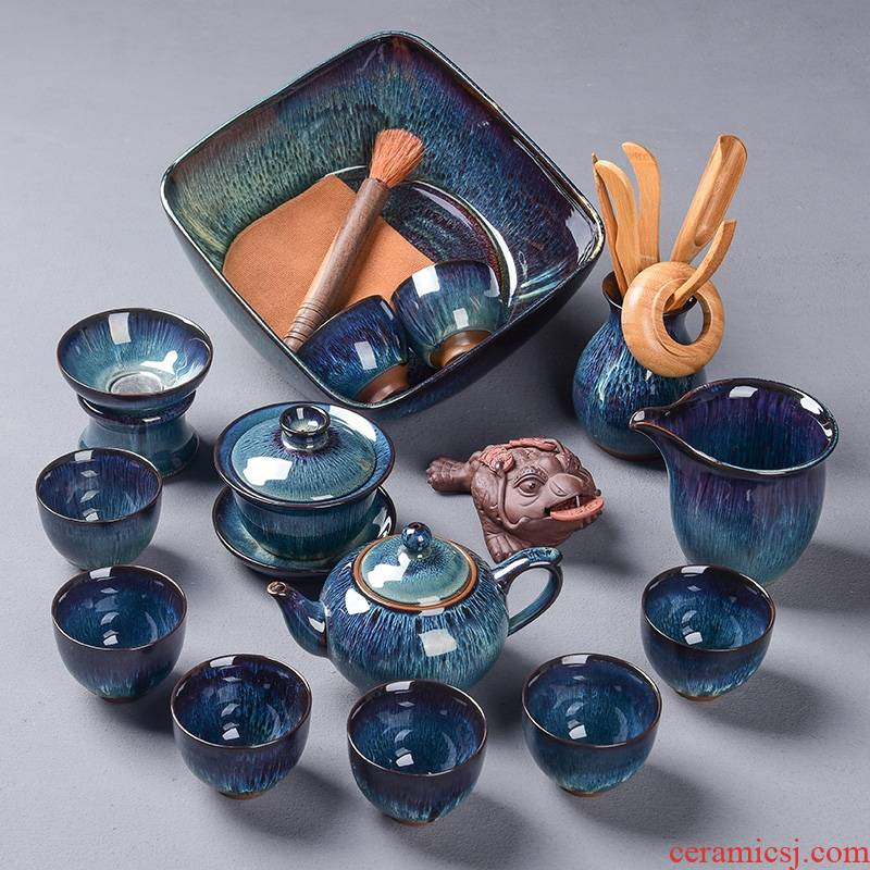 Hk xin rui up built red glaze, the tea set household TuHao drawing of a complete set of built - in light tea pot set