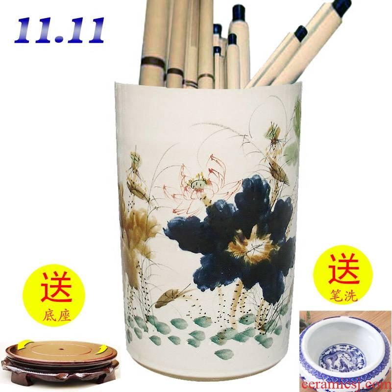 Jingdezhen ceramics receive cylinder barrels of hand - made variable quiver of calligraphy and painting scrolls of calligraphy and painting and calligraphy cylinder vase