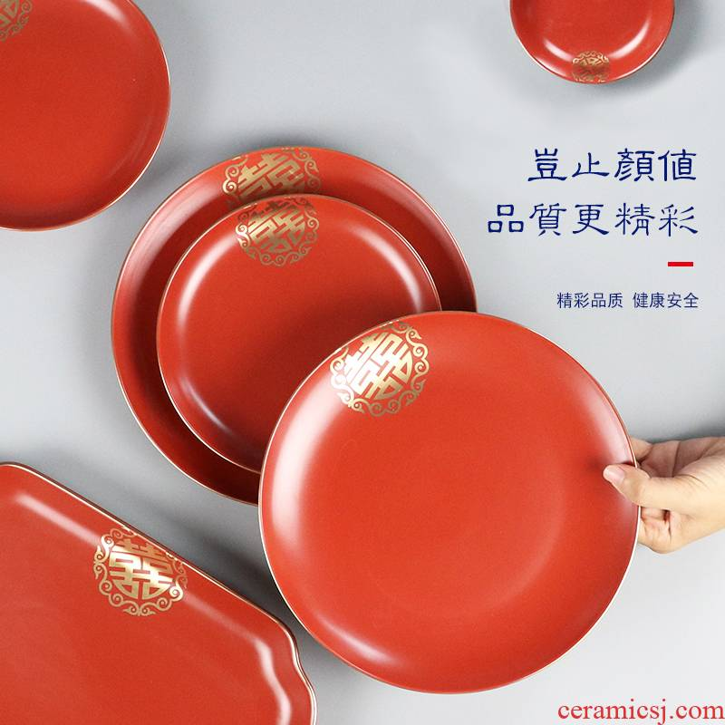 I swim household ceramics creative big red happy character plates rectangular plate of fruit cake plate ceramic tableware wedding
