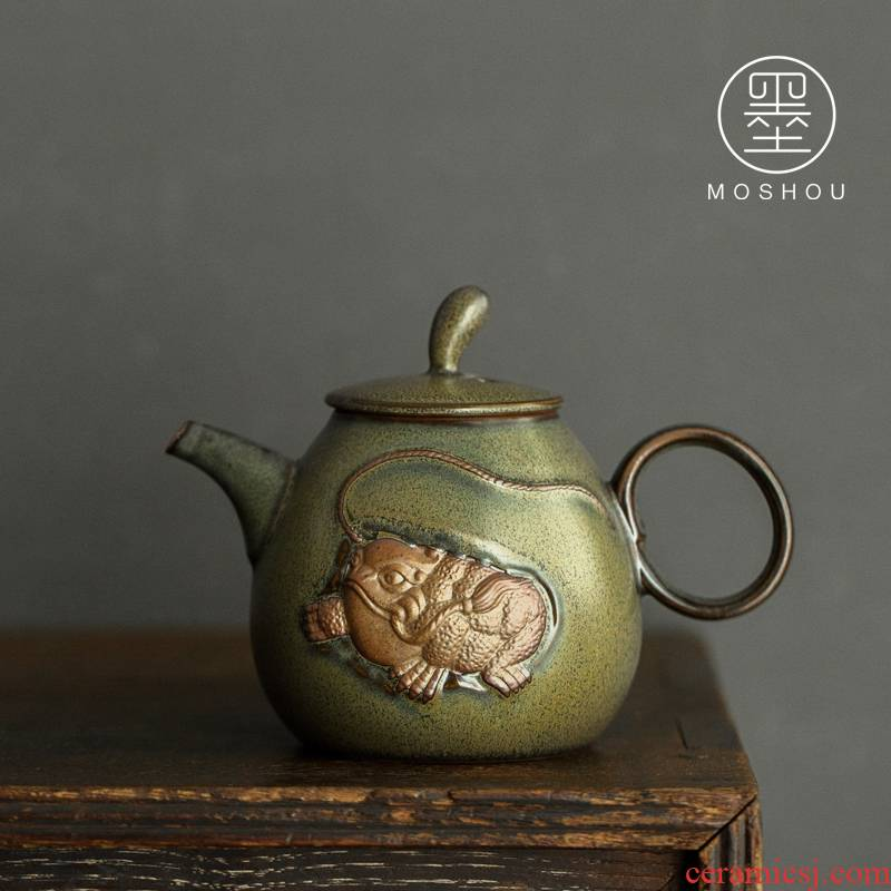 By dipping, glaze ceramic teapot the mythical wild animal Japanese household pot teapot kung fu tea set filter single pot of restoring ancient ways
