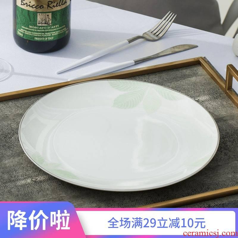 Love jue ipads porcelain fuscescens dish dish dish home European green jade jingdezhen ceramic tableware plate drops