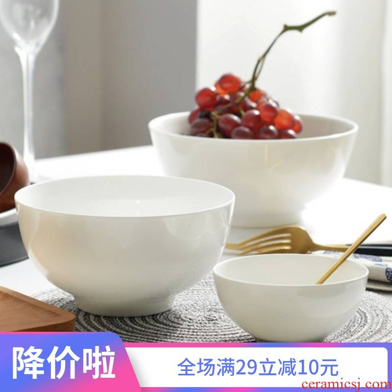 Always suit household tall Bowl meal rainbow such as Bowl bowls Bowl of pure white heat - trapping ceramic rice bowls white bread and butter