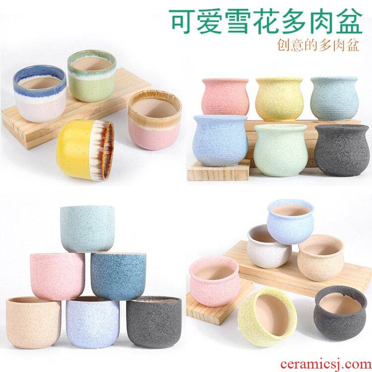 Rounded fleshy flowerpot ceramics through small pockets tao creative move of I and contracted large caliber special offer a clearance