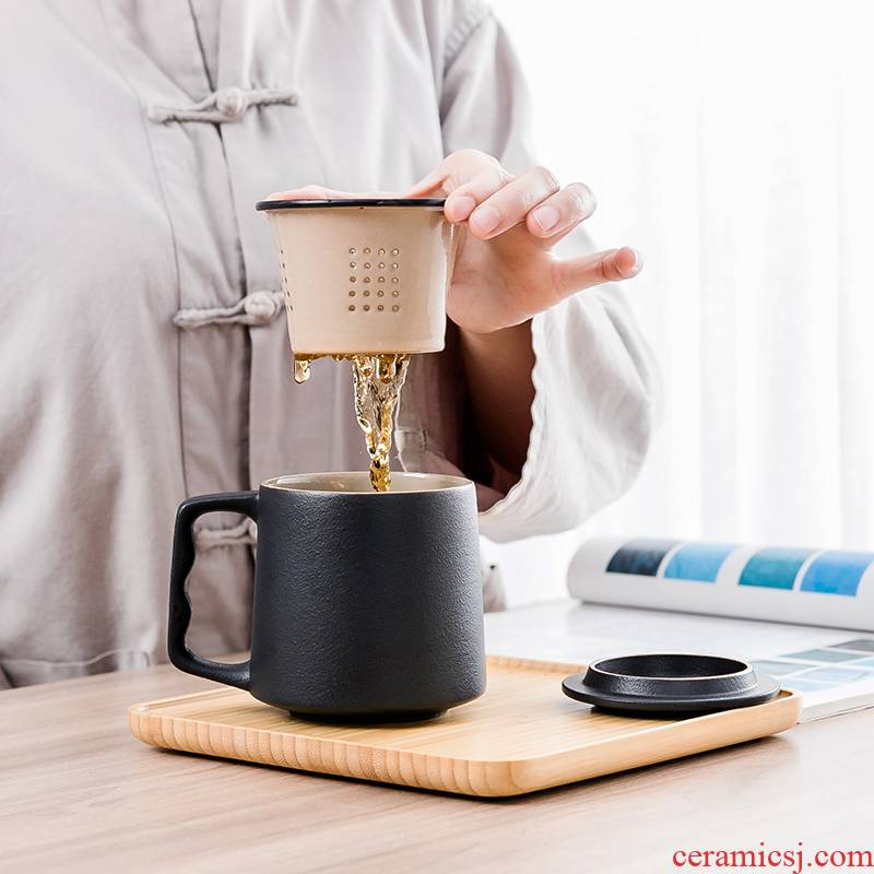 Contracted tea cup ceramic cups filtration separation of tea cups with cover large capacity travel cup portable office