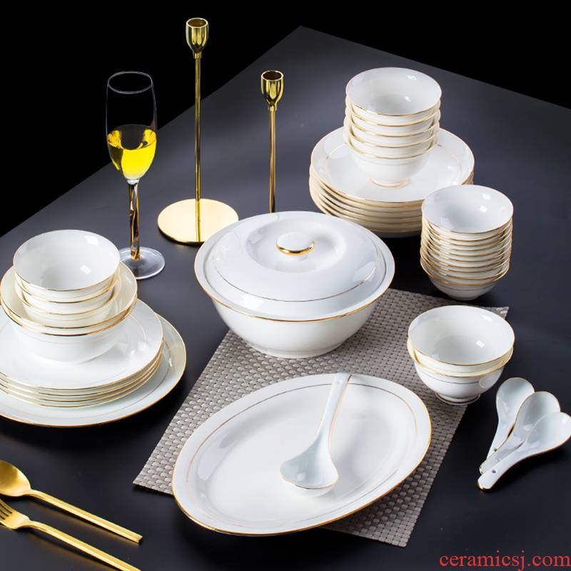 Dishes suit household 58 head up phnom penh ipads porcelain of jingdezhen ceramic tableware creative contracted Europe type bowl dish combination
