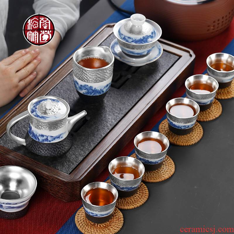 Office with coppering. As silver pieces tea ware with Japanese cup 6 pack tea kongfu tea set