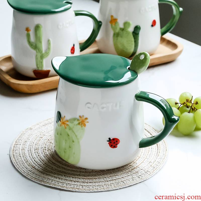 Lovely creative cartoon keller cover household with super capacity to as fe of ceramic keller cup of coffee