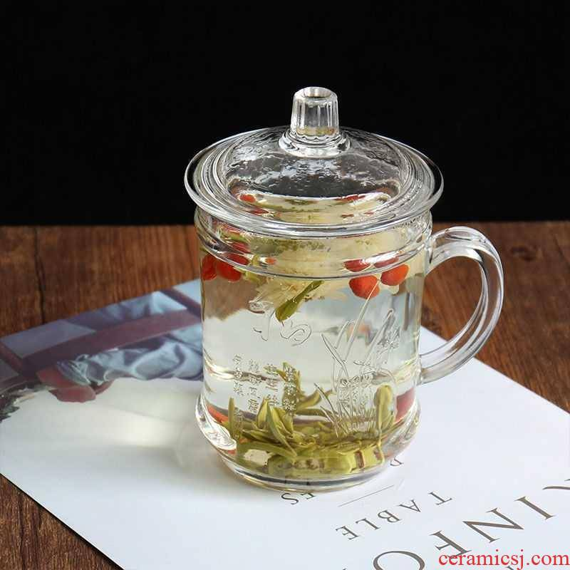 Domestic hot water tea cup male ms office cups with handles with cover more transparent new lead - free