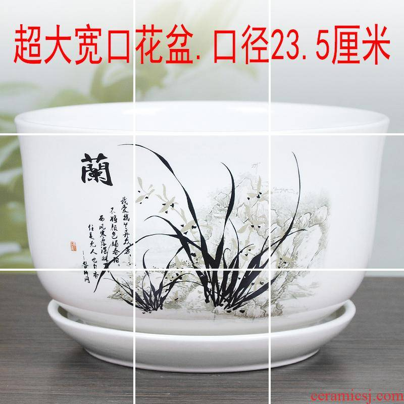 Extra large ceramic flower POTS with a hole with tray fashion creative fleshy interior contracted bracketplant money plant pot package mail