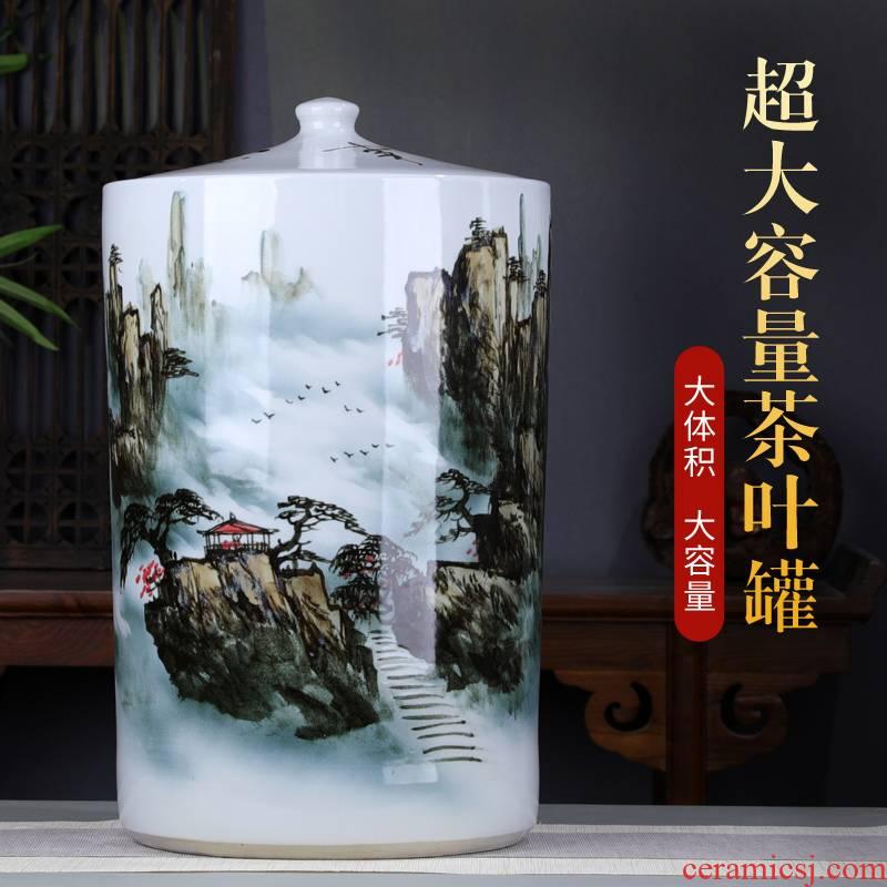 Hand - made scenery pu 'er tea pot large tea extra - large ceramic cylinder storage jar tea heavy barrels of tea cake tin