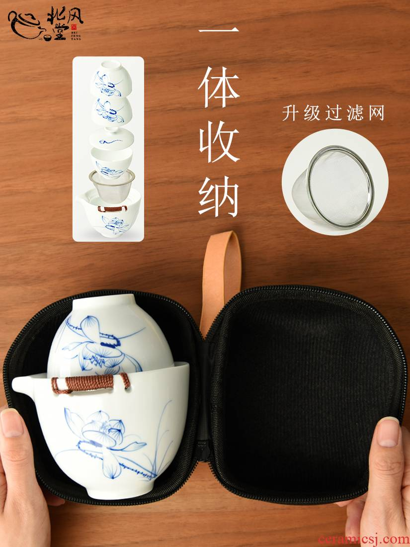 Travel hand blue and white porcelain tea set to crack a pot of three portable white porcelain tea tourism car suit small sets