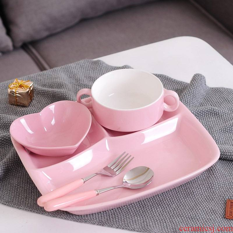 Ceramic frame plates children tableware breakfast tray sets home three separate plate of adult FanPan western - style food plate